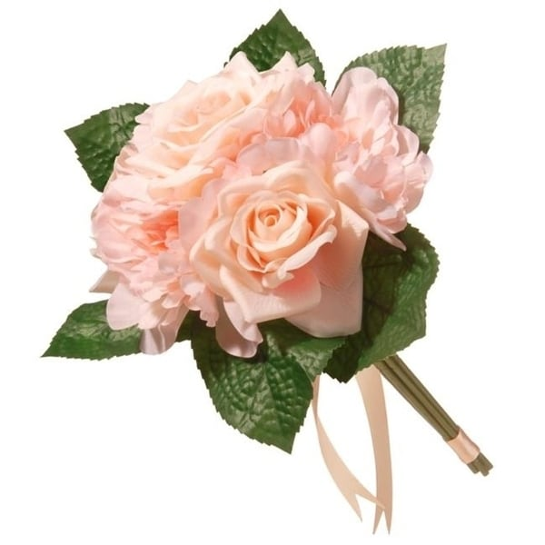 National Tree RAS-7555RPE-1 12.2 in. Mixed Peach Rose & Peony Bouquet