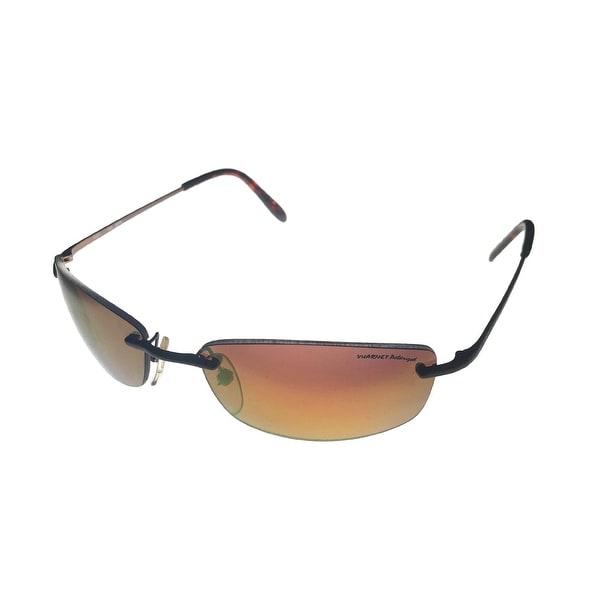 Vuarnet Sunglass Brown Rimless Rectangle Metal, Brown Polarized Len, PC 10186  - Medium