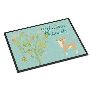 Carolines Treasures BB7628JMAT Welcome Friends Brown White Chihuahua Indoor or Outdoor Mat 24 x 36 in.