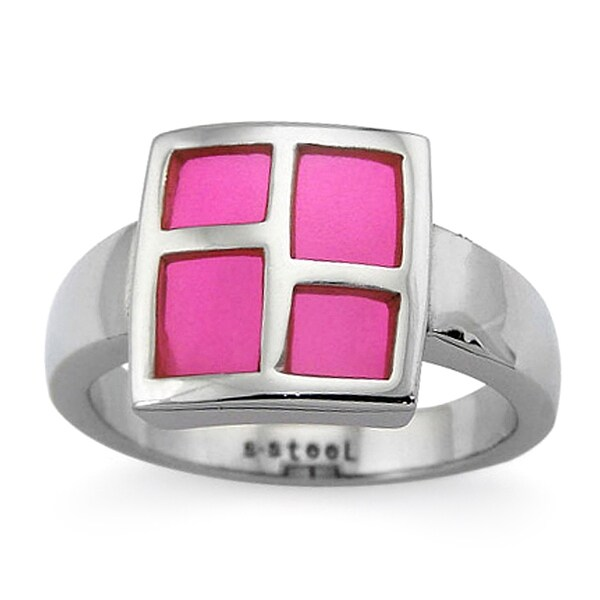 Stainless Steel Ladies' Ring with Pink Resin Inlay (Sizes 8-11)