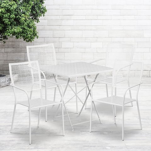 28'' Square Indoor-Outdoor Folding Patio Table Set with 4 Square Back Chairs