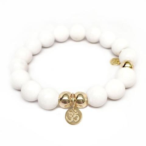 Julieta Jewelry Om Charm White Jade Bracelet