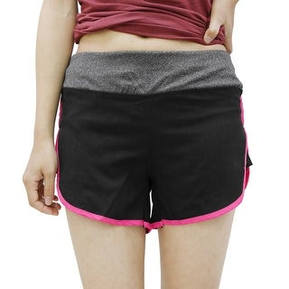 Ladies Quick Dry Stretchy Gym Yoga Fitness Sport Shorts Pants Black Pink Size S