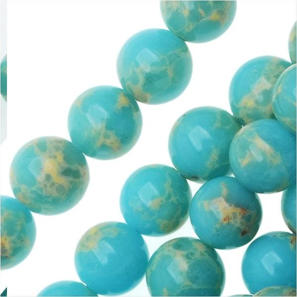 Impression Jasper Gemstone Beads, Round 6mm, 15 Inch Strand, Aqua Blue