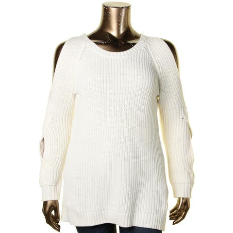 Heather B Womens Pullover Sweater Cold Shoulder Cable Knit