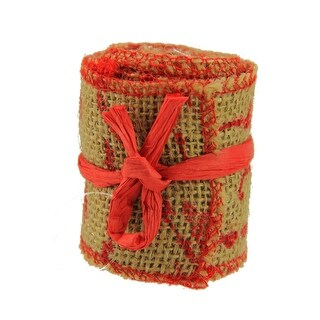"Country Cabin Red and Dark Beige Scripted Burlap Decorative Christmas Ribbon Garland 2.25"" x 2.2 Yards - brown"