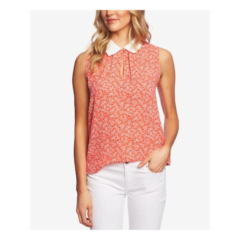 CECE Womens Pink Floral Sleeveless Collared Top Size L