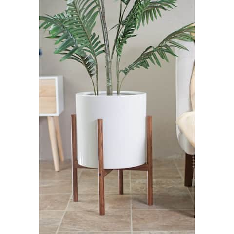 Mid-century Modern White Ceramic Planter with Wood Stand