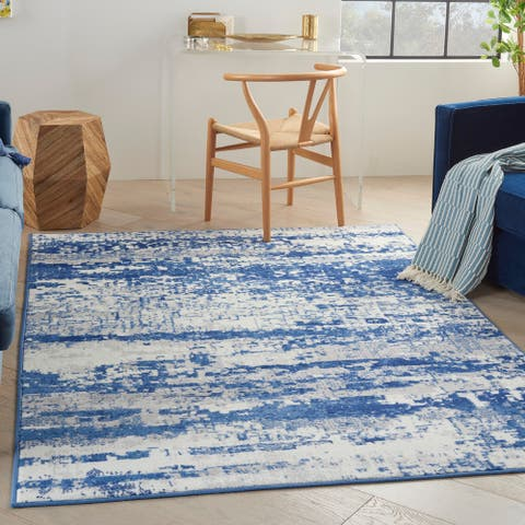 Nourison Whimsicle Modern Abstract Ivory Navy Area Rug
