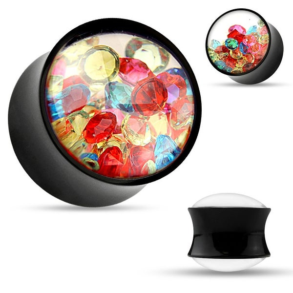 Colorful Crystals Filled Clear Face Black Acrylic Saddle Plug (Sold Individually)