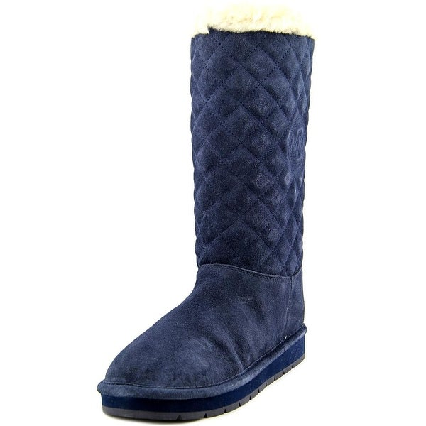 Michael Michael Kors Sandy Quilted Boot Women Round Toe Suede Blue Winter Boot