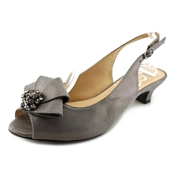 J. Renee Jadan Women Peep-Toe Synthetic Gray Slingback Heel