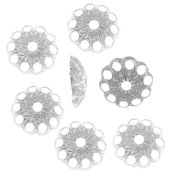 Silver Plated Openwork Daisy Bead Caps - 6mm (50)