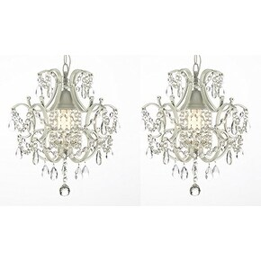 SET OF 2 ! Wrought Iron and Crystal White Chandelier Pendant