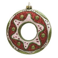 "4"" Merry & Bright Green, Red and White Glittered Shatterproof Doughnut Christmas Ornament"