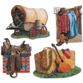 "Club Pack of 48 Multi-Colored Country Western Cowboy Cutout Party Decorations 16"" - Multi"