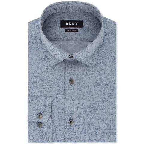 DKNY Mens Dress Shirt Blue Size XL 17 Slim Fit Stretch Button-Front