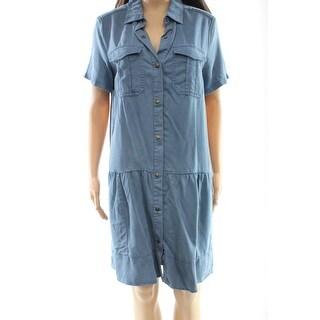 Max Jeans NEW Blue Women's Size Medium M Button Down Shirt Dress