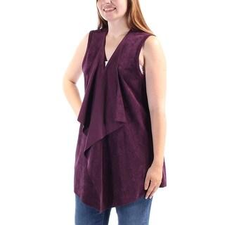 CALVIN KLEIN $110 Womens New 1116 Purple Faux Suede Sleeveless Sweater M B+B