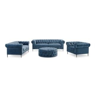Corvus Prato 4-piece Velvet Rolled Arm Chesterfield Sofa Set with Ottoman