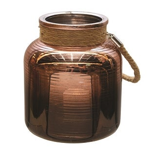 "6.25"" Copper Brown Circle Design Decorative Pillar Candle Holder Lantern with Handle"