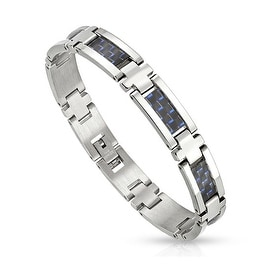 Blue Carbon Fiber Strips in Center Stainless Steel Link Bracelet (10 mm) - 8.25 in