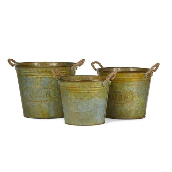"""Set of 3 Green Rusted Walther Galvanized Planters with Rope Handle 15.5"""" - N/A"""