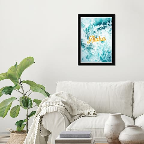 Wynwood Studio 'Aloha Waves' Typography and Quotes Blue Wall Art Framed Print