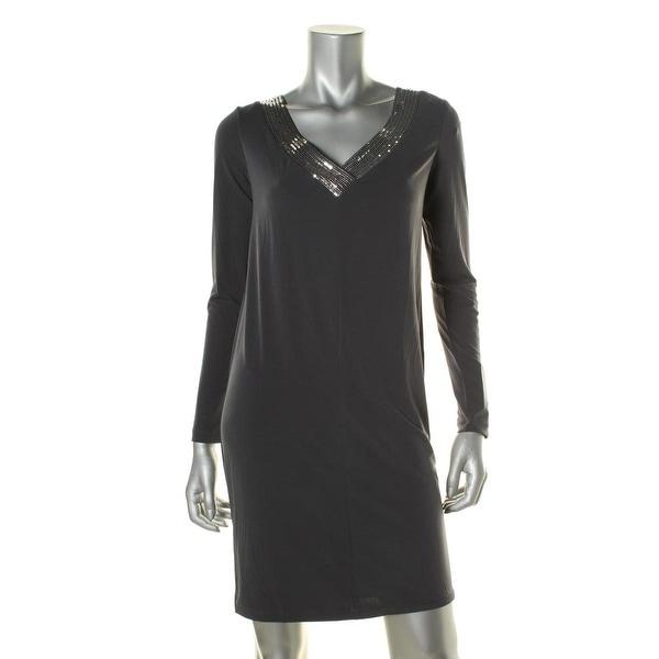 Calvin Klein Womens Casual Dress Sequin-Trim Cowl-Back