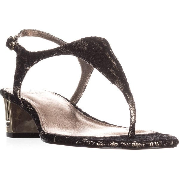 Adrianna Papell Cassidy T-Strap Sandals, Platino/Black - 8.5 us / 38.5 eu