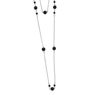 Stainless Steel IP Black-plated Beads Draped 36in Necklace (1 mm) - 36 in