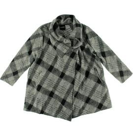 BB Dakota Womens Plus Sosa Plaid Unlined Coat - 2X