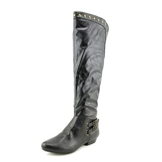 White Mountain Flossy Women Round Toe Synthetic Black Knee High Boot