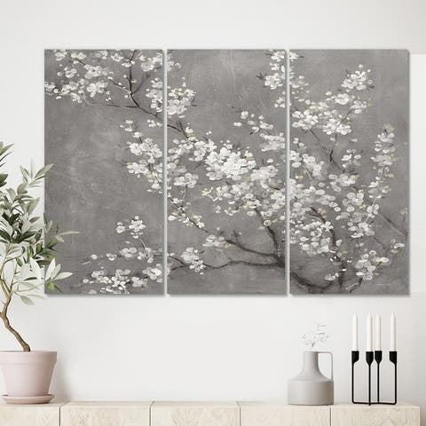 Designart 'White Cherry Blossoms II' Traditional Canvas Artwork Print