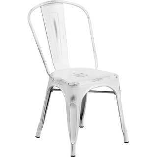 Brimmes Distressed White Metal Stackable Chair for Patio/Bar/Restaurant