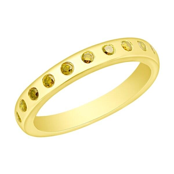 Prism Jewel 0.25CT Flush Set Round Cut Yellow Diamond Wedding Band