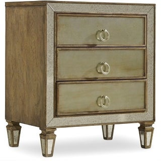 "Hooker Furniture 5414-90016  28"" Wide 3 Drawers Hardwood Nightstand from the Sanctuary Collection - Avalon Silver Leaf"