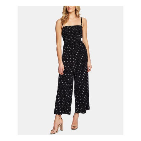 CECE Womens Black Polka Dot Sleeveless Square Neck Jumpsuit Size L