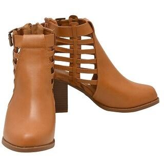 Lov mark Adult Tan Side Woven Strap Back Zipper Heeled Boots