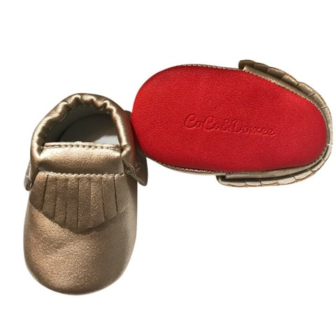 Baby Girls Gold Red Soft Sole Faux Leather Tassel Moccasin Crib Shoes 3-18M