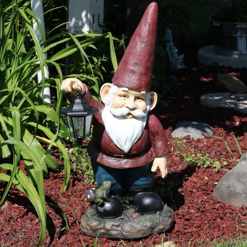 Sunnydaze Sammy The Solar Lantern Gnome Outdoor Garden Statue   29 Inch