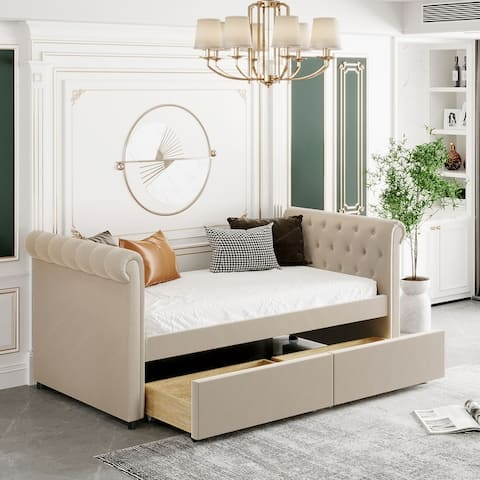 Nestfair Twin Size Upholstered Daybed with Drawers