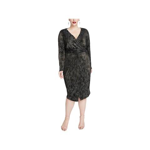 Rachel Rachel Roy Womens Plus Silvia Wrap Dress Metallic Printed