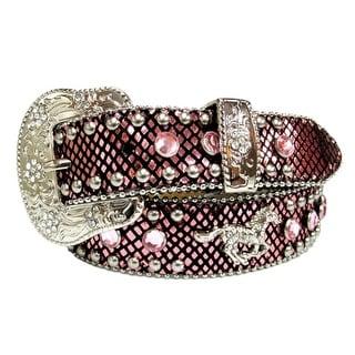 Angel Ranch Western Belt Girls Kid Snake Horse Concho Bling Pink A1909