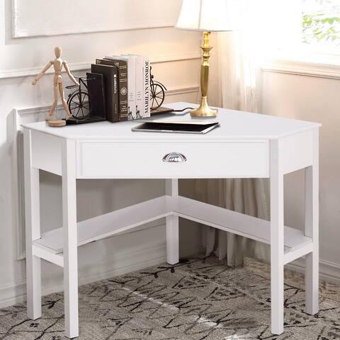 Corner Wooden PC Laptop Computer Desk-White