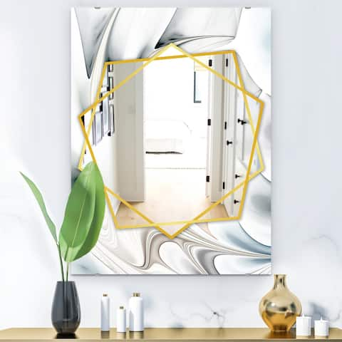 Designart 'White Stained Glass Floral Art' Modern Mirror - Frameless Contemporary Wall Mirror
