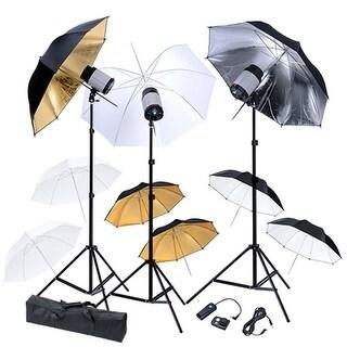 vidaXL Studio Set: 3 Flash Lights, 9 Umbrellas, Tripods & 1 Trigger