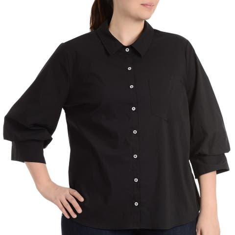 NY Collection Womens Top Solid Black Size 1X Plus Button Down Collared