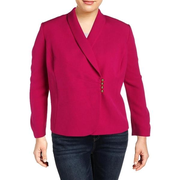 Tahari ASL Womens Plus Four-Button Blazer Asymmetric Office