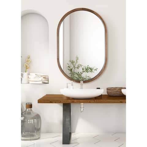 Kate and Laurel Hutton Wood Framed Capsule Mirror
